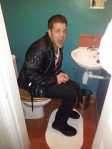 Gio in our huge toilet in Bristol haha!